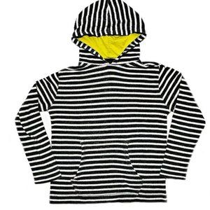 Old Navy Thermal Grey/White Striped Hooded Shirt